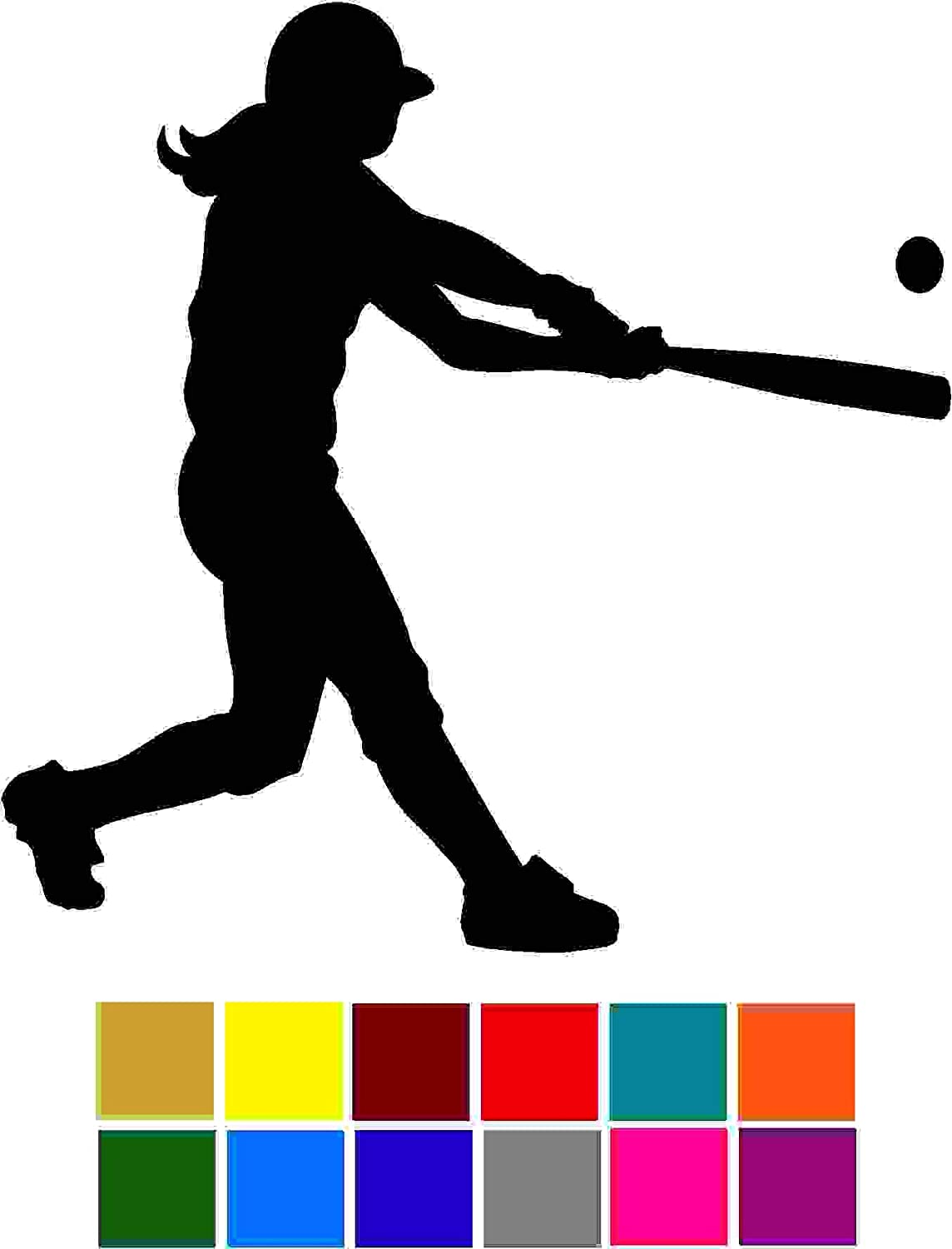 Sports Softball Batter Girl Decal Sticker Vinyl Car Window Tumblers Wall Laptops Cellphones Phones Tablets Ipads Helmets Motorcycles Computer Towers V and T Gifts