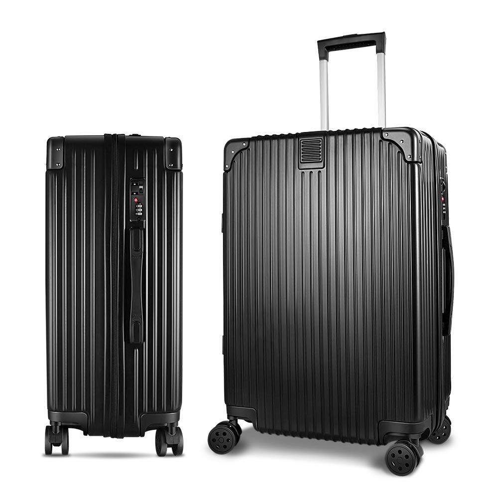 スーツケース キャリーケース 軽量 静音 大型 アルミフレーム ロック搭載 ファスナー式 レトロ 旅行 出張 男女兼用 ブラック M  B07PVY4XRH