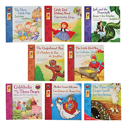 Constructive Playthings Bilingual Classic Children's Story Book Set, English and Spanish