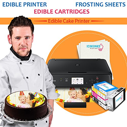 Canon Edible Printer Bundle by Icinginks includes Wireless Edible Photo Printer for Cakes, 5 Edible Cartridges, 24 Frosting Sheets and Free Edible Designing - Best Image Cake Printing Machine
