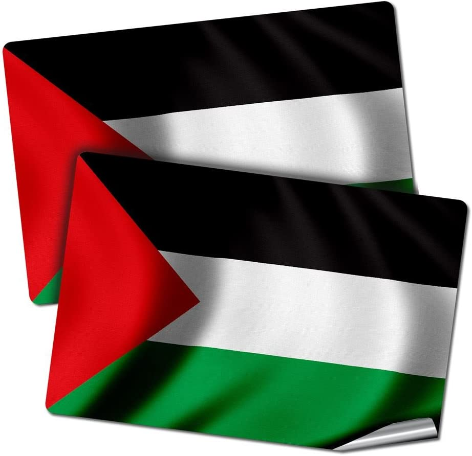 "ExpressItBest Two 2""x3"" Decals/Stickers with Flag of Palestine - Waves - Long Lasting Premium Quality"
