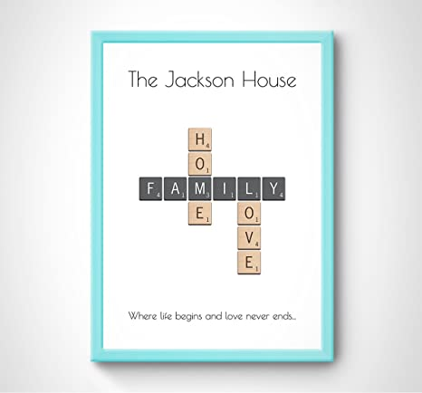 Scrabble Cadre Photo Personnalisé Famille Arbre Wall Art Cadeau Toute Occasion