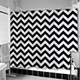 Uneekee Black Chevron Shower Curtain: Large