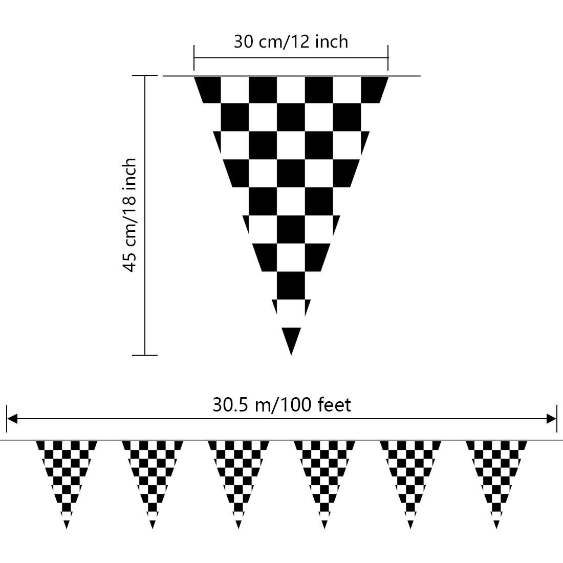 JINSEY 100ft Black and White Checkered Racing Flags NASCAR Racing Pennant Flag Banners for Kids Party