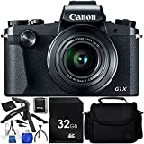 Canon PowerShot G1 X Mark III - 9PC Accessory Bundle Includes 32GB SD Memory Card + 12 Gripster + 6.5 Tabletop Pistol Grip Tripod + Medium Carrying Case + Starter Cleaning Kit + MORE