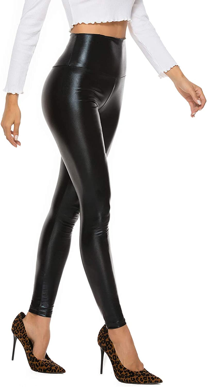 Ladies Leather Leggings Thin Fleece High Waist Tummy Control Stretch PU Trousers