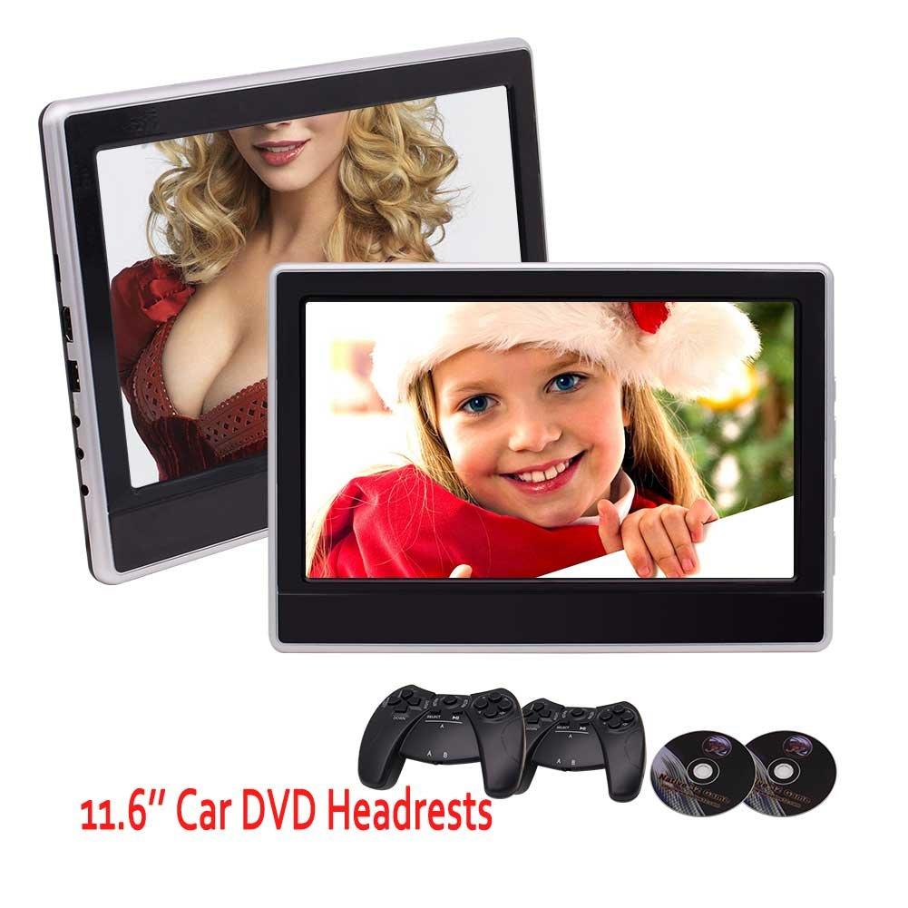 2×11.6インチデジタルデュアルシガーライターアダプタとゲームディスクゲームパッドのサポートUSBのSD HDMIポートを備えた超薄型カーヘッドレスト後部座席DVDプレーヤーIR / FMトランスミッター32ビットのゲームを監視します B0788N4LJH