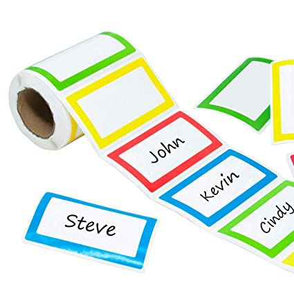 amazon com colorful name tag stickers labels 250 pcs coofficer