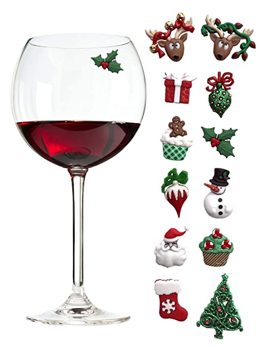 christmas holiday magnetic wine glass charms cocktail markers set of 12 great christmas hostess - Wine Christmas