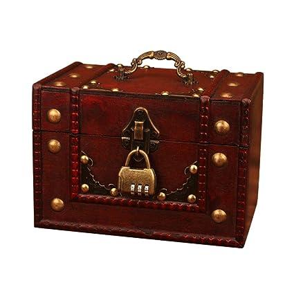 Flower205 - Caja de joyería antigua hecha a mano para almacenamiento de regalo, joyero vintage