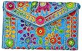 Rajasthani Jaipuri Art Sling Bag Foldover Clutch Purse-Quality Checked-Sky Blue