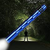 Mini Flashlight, 1000LM CREE XP-E R2 Pocket Torch Light, Great for Carrying Around, Blue (Battery not included)
