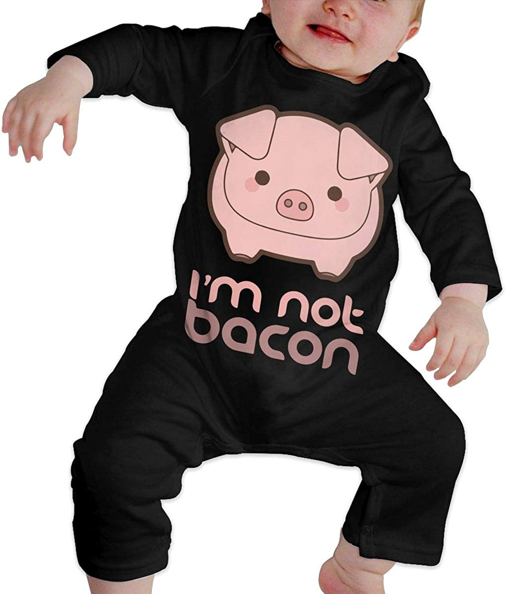 Im Not Bacon Funny Pig Printed Baby Boys Girls One-Piece Suit Long Sleeve Romper Black