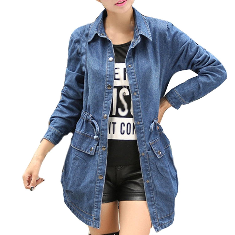 Dear Time Spring Autumn Women Denim Turn-Down Collar Long Jeans Jacket