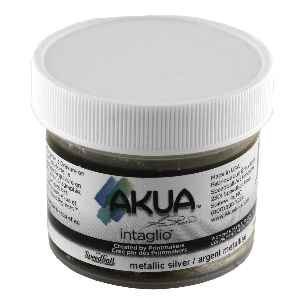 Akua Intaglio Print Making Ink, 2 oz Jar, Metallic Silver (IIMS2) by Akua