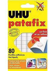 UHU Patafix, Pâte à fixer, repositionnables et prédécoupées, 80 pastilles, Blanc
