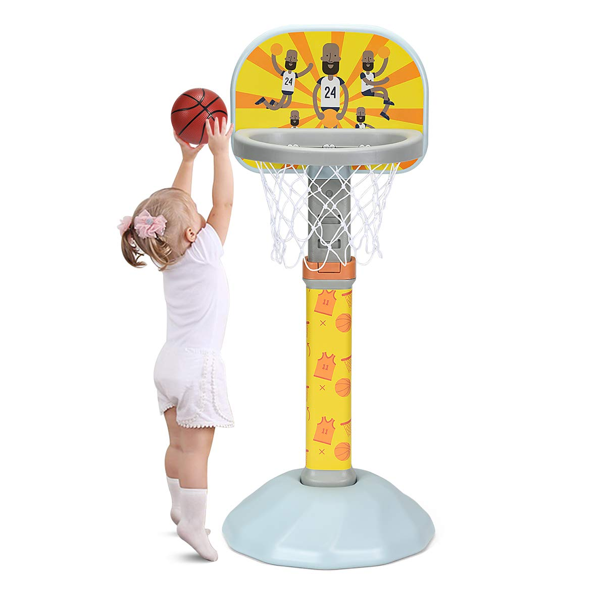 Costzon Kids Basketball Hoop, 38-53'' H, 9 Adjustable Height Basketball Stand Set with Ball & Pump, Indoor/Outdoor Play, Easy Score Basketball Game for Boys & Girls (Blue Stand) by Costzon