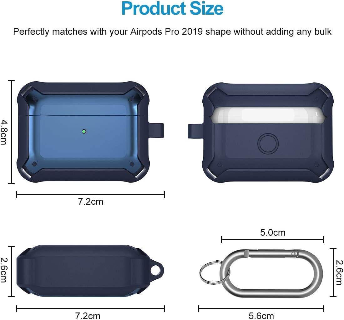 Schwarz Zweiteilige Sto/ßfeste Schutzh/ülle Case mit Karabiner f/ür AirPods Pro Front LED Sichtbar H/ülle f/ür AirPods 3 Supgear Silikon H/ülle Kompatibel mit AirPods Pro Unterst/ützt Kabelloses Laden