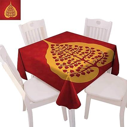 Amazon.com: cobeDecor Leaf Washable Tablecloth Artistic ...