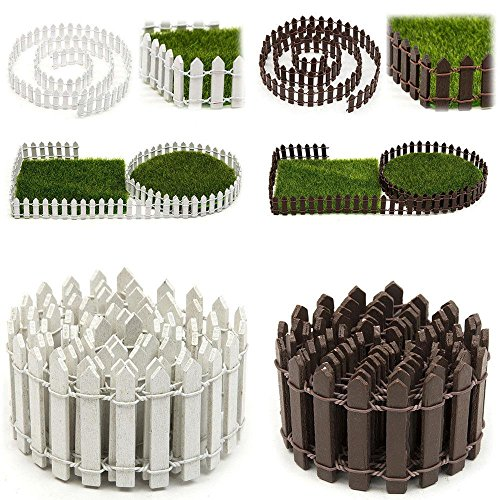 ORYOUGO 2 Pack White Brown Miniature Fairy Garden Wood Picket Fence,DIY Mini Ornament for Dollhouse Home Garden with 2 Sheets Artificial Grass Fake Lawn Grass