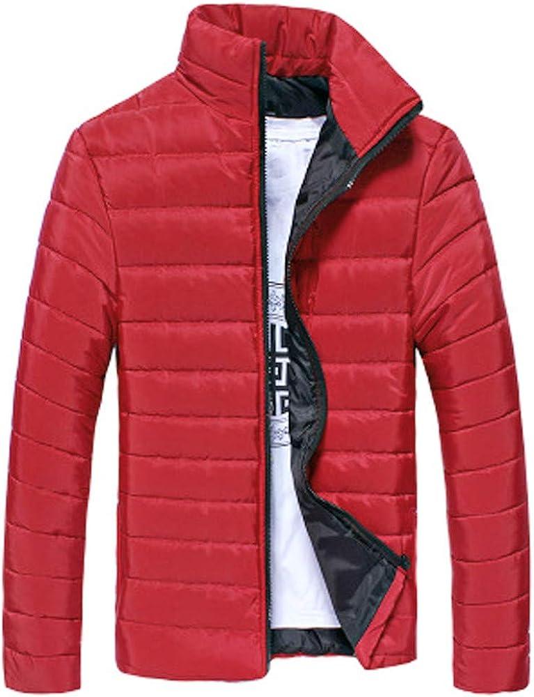 YYear Men Winter Zipper Stand Collar Warm Slim Fit Plain Casual Lightweight Puffer Jacket