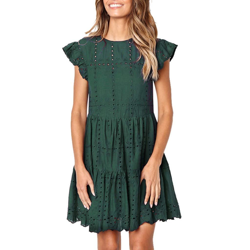 TIFENNY Crewneck A-Line Dress for Women Casual Ruffles Hem Sleeve Mini Dress Summer Hollow Out Ruched Dresses Green