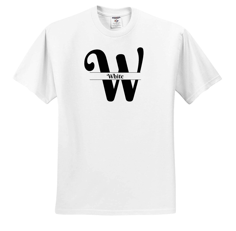3dRose BrooklynMeme Monograms Adult T-Shirt XL ts/_310049 White Bold Script Monogram W