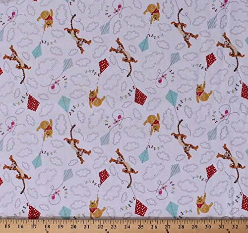 Cotton Winnie the Pooh Bear Tigger Piglet Flying Kites Clouds Pooh and Friends Fly Kids White Cotton Fabric Print by the Yard (10027679)