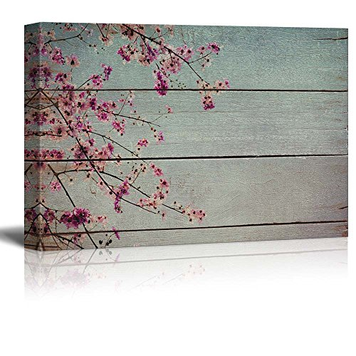 Descending Romantic Branch of Blossoms Rustic Floral Arrangements Pastels Colorful Beautiful Wood Grain Antique