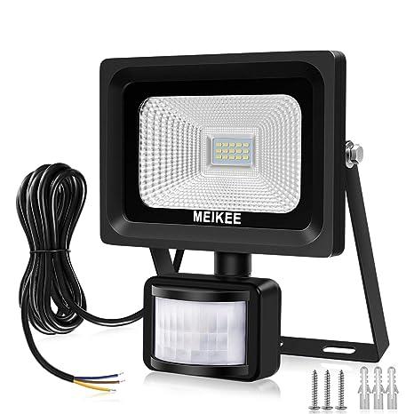 MEIKEE 10W Foco LED con Sensor Movimiento 1000LM, Mejoradoluz Foco LED Solar Exterior, Impermeable