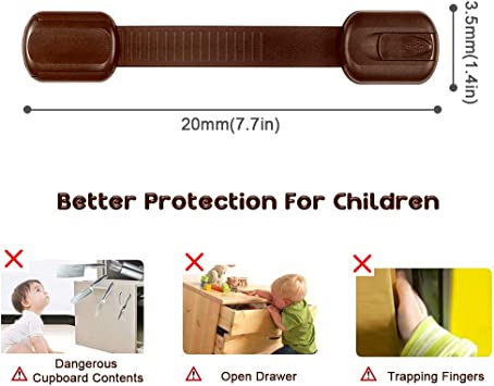 Viaky Adjustable Straps Baby Proof for 8 Pack Brown Child Safety Cabinet Locks