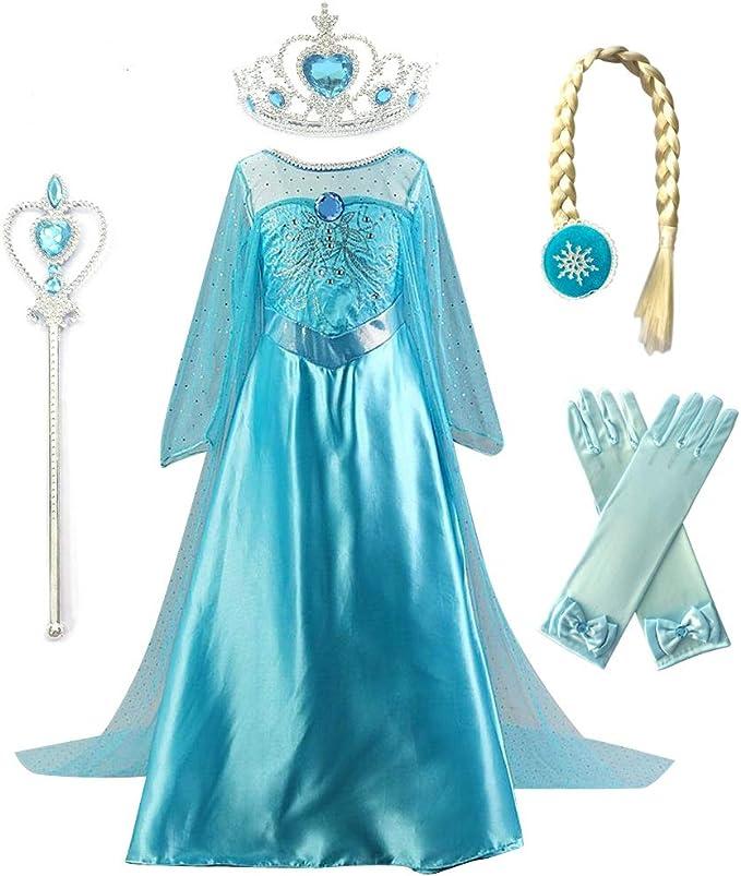 Amazon.com: Kuzhi princesa Elsa Anna Cosplay disfraz con ...