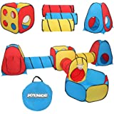 JOYMOR 7 in 1 Kids Ball Pit Tents and Tunnels, Pop Up Children Playhouse with 3 Crawl Tunnels, 2 Teepee Tents, 1 Ball Pit w/