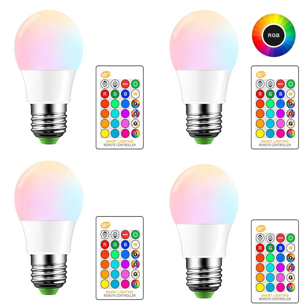 4 Pack 5W E27 RGB Multicolor Led Bulb with Remote Control Battery Not Included Bright RGB Led Dimmable Bulb with Atmosphere Decorative Light for Ktv Party RGB Led Bulb,Color Changing Light Bulb