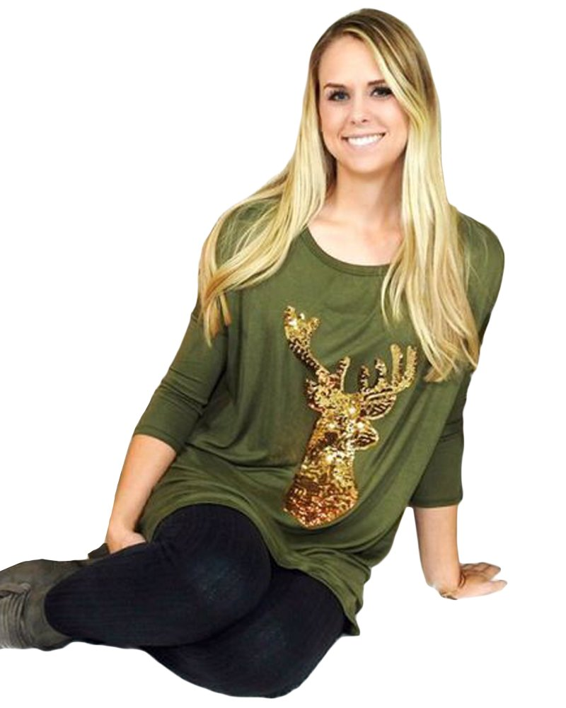 Romacci Womens Sequin Print Shirts Long Sleeve Round Neck Tunic Tops