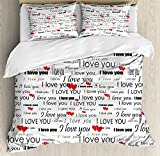 Ambesonne Romantic Duvet Cover Set Queen Size, I Love You Quote with Hearts Romance Couple Valentine Plain Backdrop, Decorative 3 Piece Bedding Set with 2 Pillow Shams, Vermilion Black White