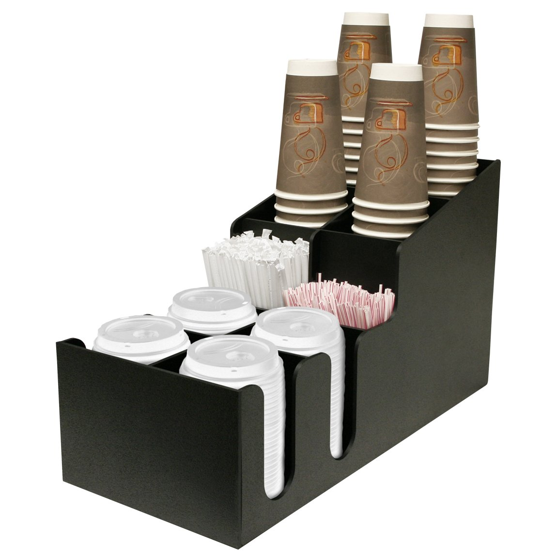 Coffee Cups, Lids and Stirrers Holder. Holds 24 oz. Cups & Lids or Smaller. Professional way to Present your Coffee.Proudly Made in the USA! by PPM.