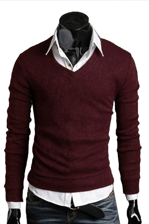 SWORLD-men Basic Simple V Neck Long Sleeves Comfort Colors Pullover Sweater