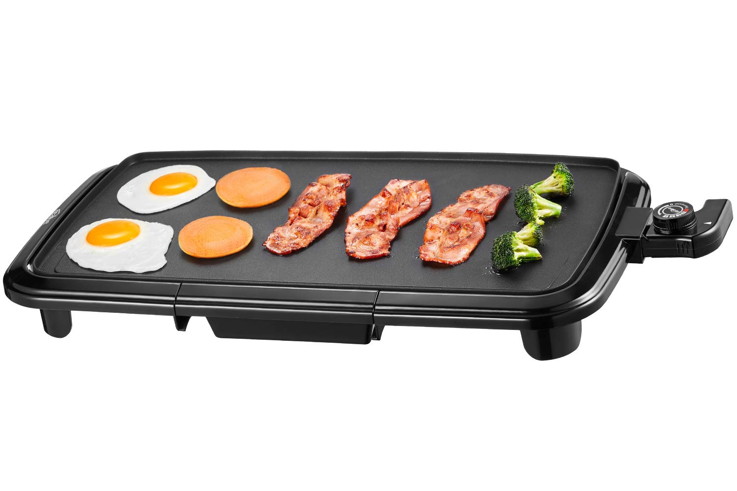 Kealive Griddle, Family-Sized Electric Grill Griddle 1500W with Drip Tray, Non-stick, 10''x20'', Black