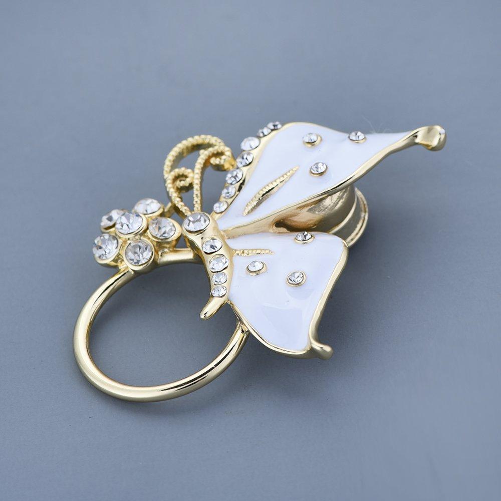 GUANDU Enamel Butterfly Crystal Magnetic Eyeglass Holder for Women Teen Girls (Gold) by GUANDU (Image #5)