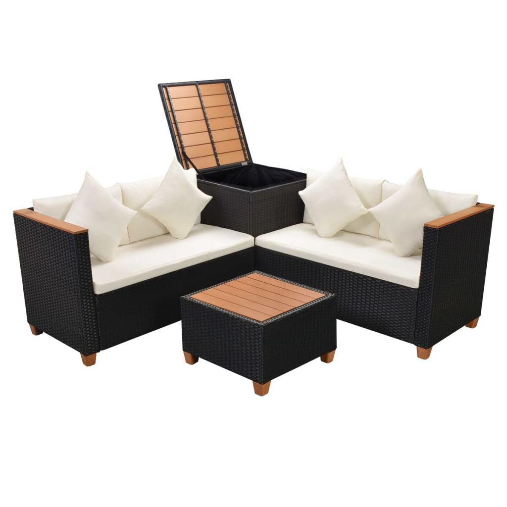 vidaXL Garden Sofa Set 9 Piece Poly Rattan WPC Top Black Outdoor Furniture