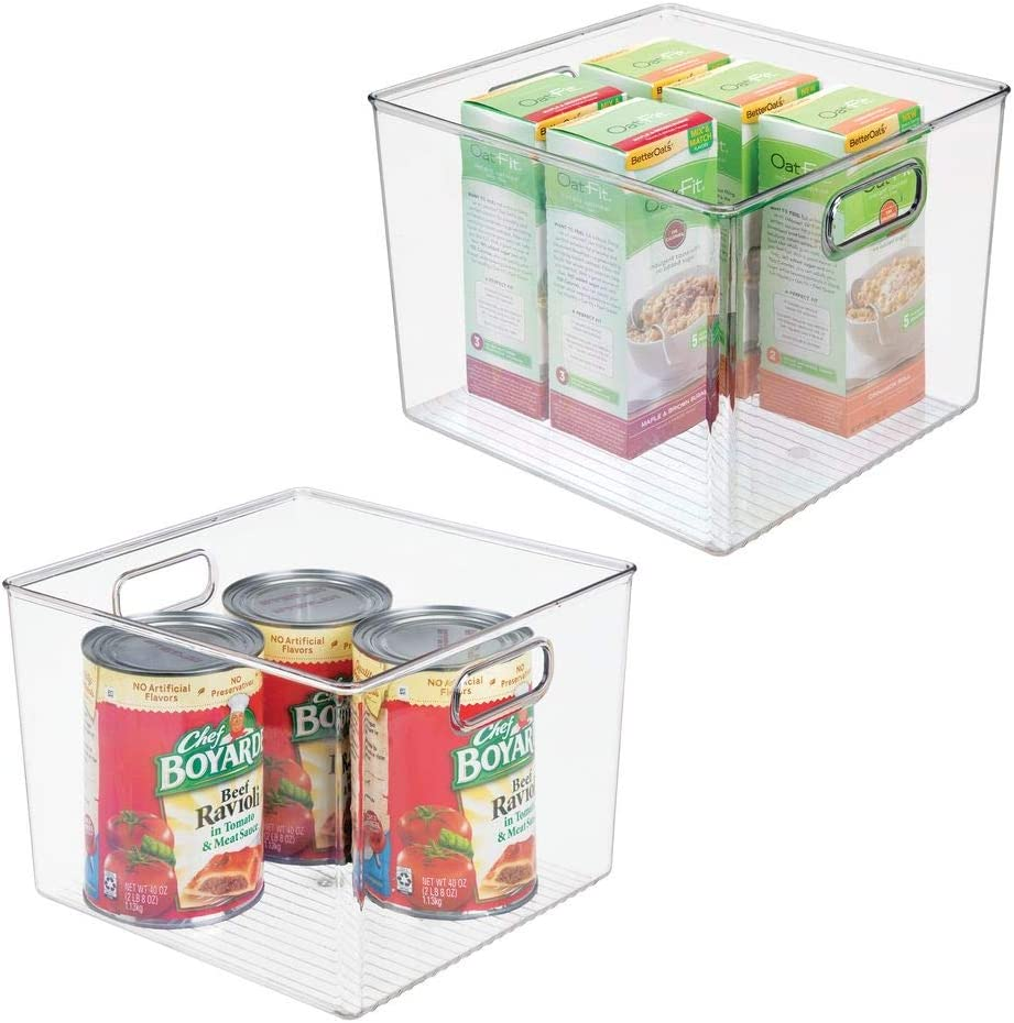 """mDesign Plastic Food Storage Container Bin with Handles - for Kitchen, Pantry, Cabinet, Fridge/Freezer - Large Organizer for Snacks, Produce, Vegetables, Pasta - BPA Free, 10"""" Square, 2 Pack - Clear"""