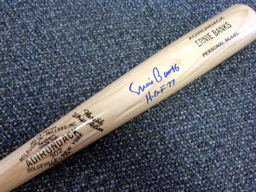(Ernie Banks Autographed Blonde Rawlings Bat Chicago Cubs