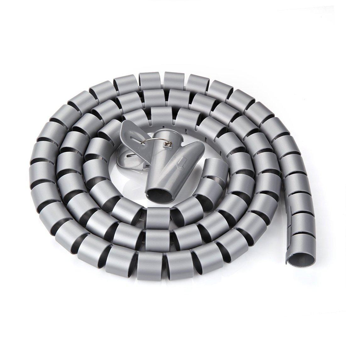 sourcingmap® Weiß 10ft 10mm Flexibel Kabelspirale Spiralband Kabelschlauch m. Klammer US-SA-AJD-264617
