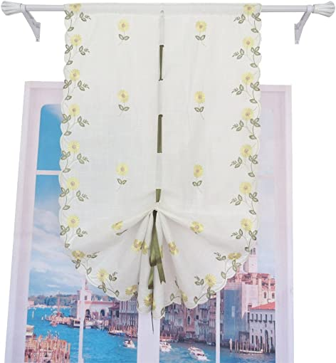 ZHH Pastoral Embroidered Daisy Balloon Shade Green Ribbon Tie-Up Roman Curtain 32 by 57-Inch, Yellow Flowers on White