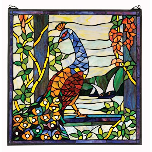 Peacock Stained Glass Panel - Design Toscano Stained Glass Panel - The Peacock's Garden Stained Glass Window Hangings - Window Treatments