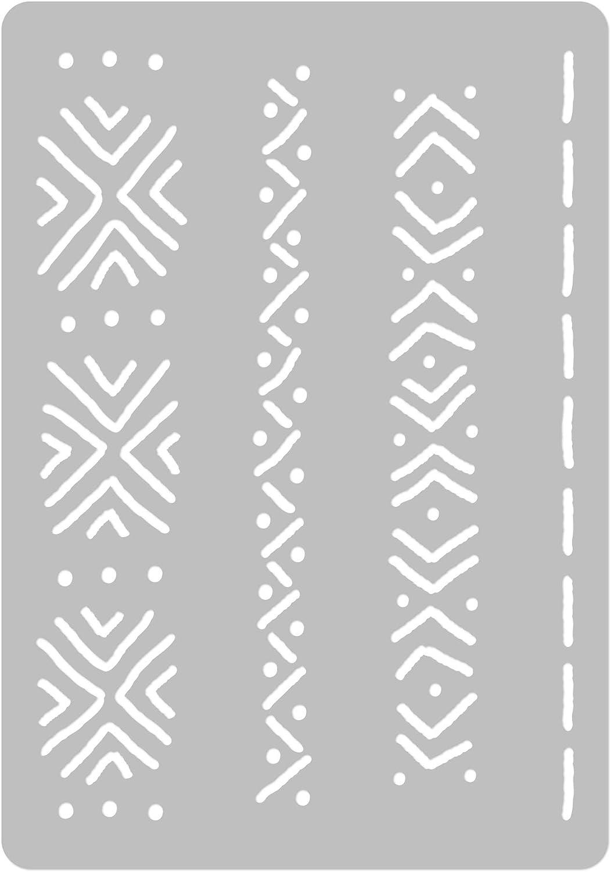 Scrapbooking A3 BRICOLAGE r/éutilisable pochoir en plastique // // A3 A4 A5 Mudcloth Elements #1 // // Artisanat Meubles D/écoupage