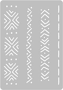 DIY Reusable Plastic STENCIL // A3 A4 A5 Mudcloth Elements #1 // Craft - Furniture - Scrapbooking - Decoupage (A4)