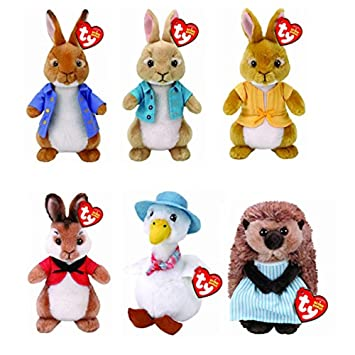 571ccb536a3 Peter Rabbit TY Beanies Full Set Of 6 Collection Soft Toys  Amazon ...