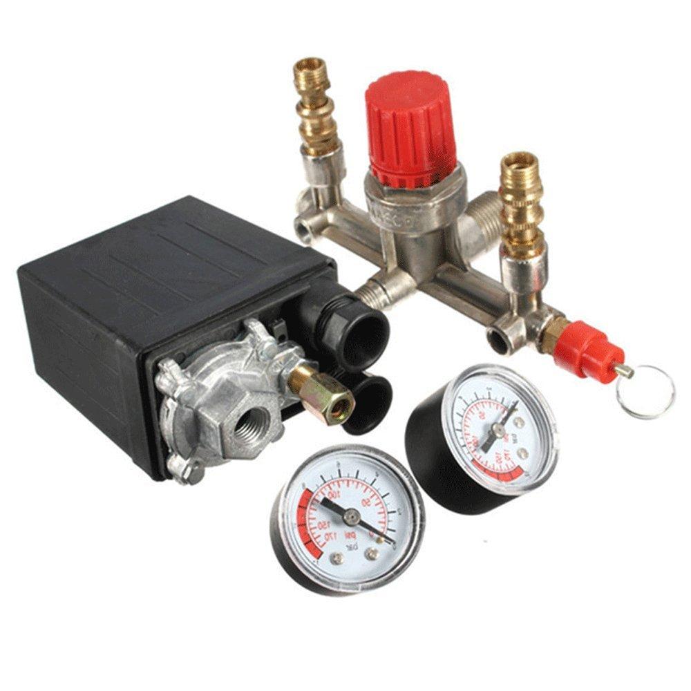 Finlon Air Compressor Pressure Control Switch Valve Manifold Regulator w/ Gauges Relief